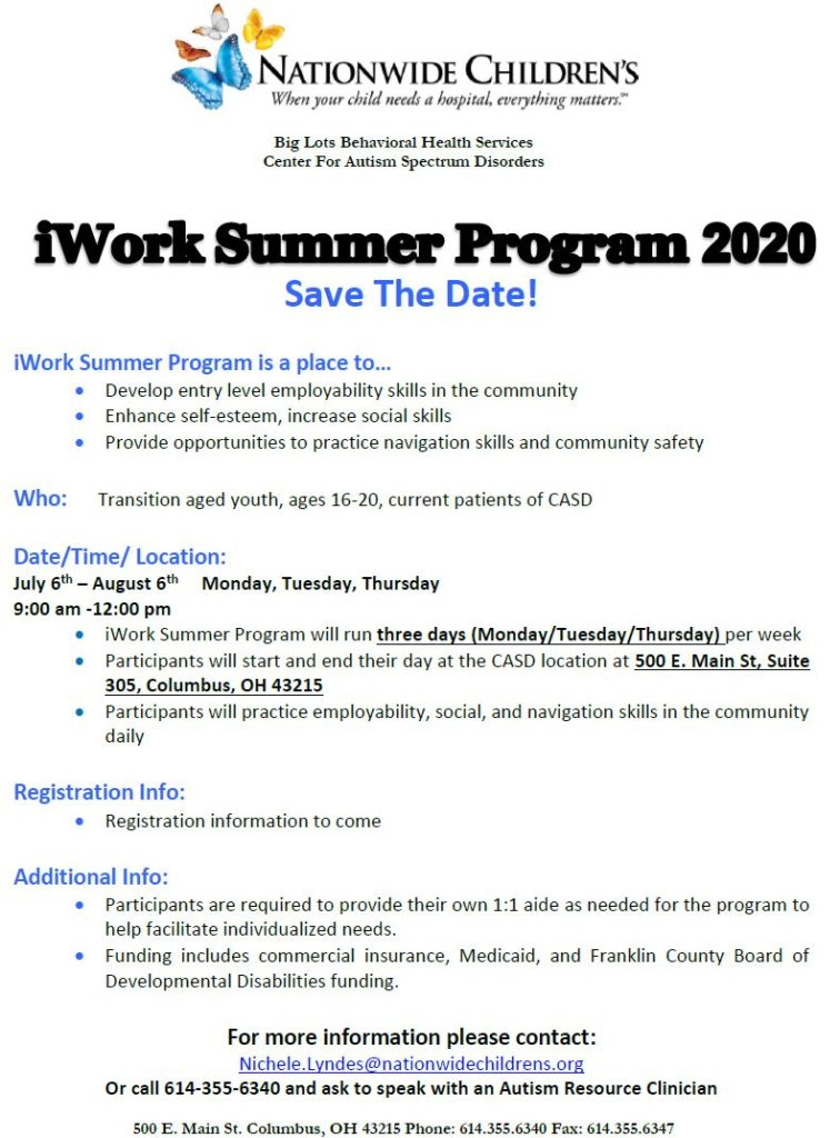iwork summer program 2020 save the date